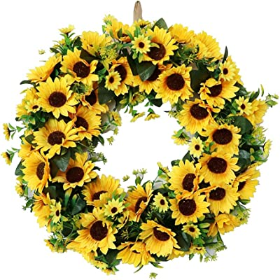 20 Sunflower Fruit Artificial Sunflower Fruit Hanging Wreath for Home Party Indoor Outdoor Window Wall Wedding Party Decoration UArtlines 20 Natural Garlands Front Door Wreaths