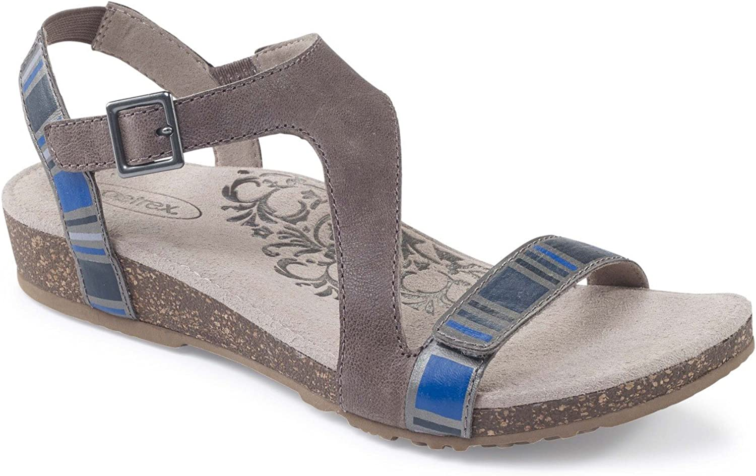 Aetrex Womens Jenny Leather Open Toe Casual Platform Sandals
