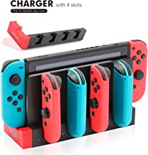 Charger for 4 Switch Joy-Cons with 4 Joy Con Charging Slots, 2 USB 2.0 Plugs and Charging Indicator