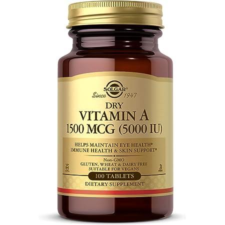 Solgar Dry Vitamin A 1500 mcg (5000 IU), 100 Tablets - Supports Healthy Eyes, Skin & Immune System - Non-GMO, Vegan, Gluten Free, Dairy Free, Kosher - 100 Servings