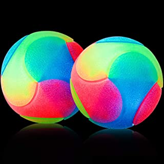 Skylety 2 Pieces LED Light up Dog Balls Flashing Pet Color Balls Glowing Elastic Ball LED Molar Ball Colorful Interactive ...