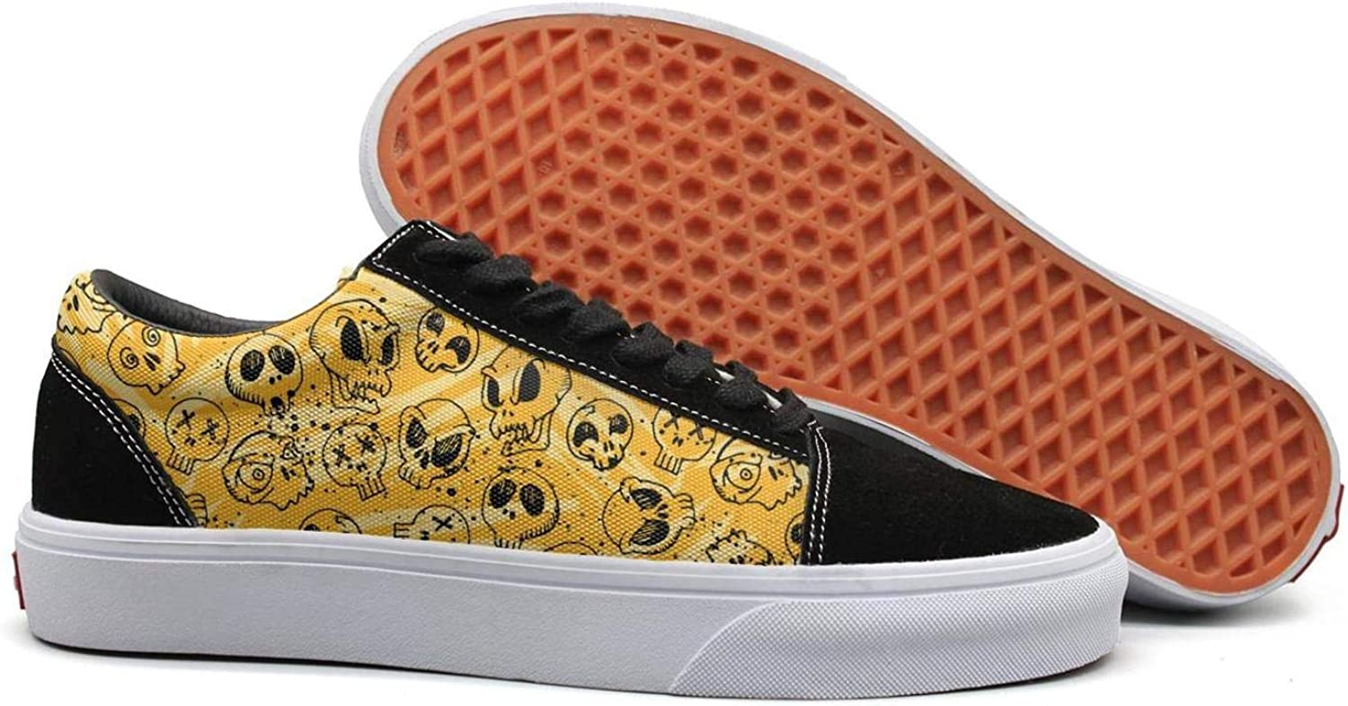 Winging Women Yellow Skull Drawing Skull face Fashionable Suede Canvas shoes Old Skool Sneakers