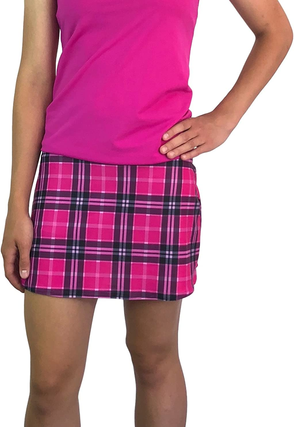 Pink Plaid Slim Golf Tennis Spasm Credence price Skort Made Skirt USA in -