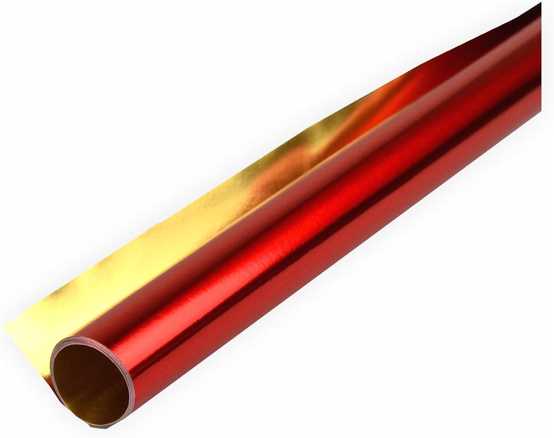 50cmx10m rot 1 Stück doppelseitig kaschiert rot // gold Folia Alufolie