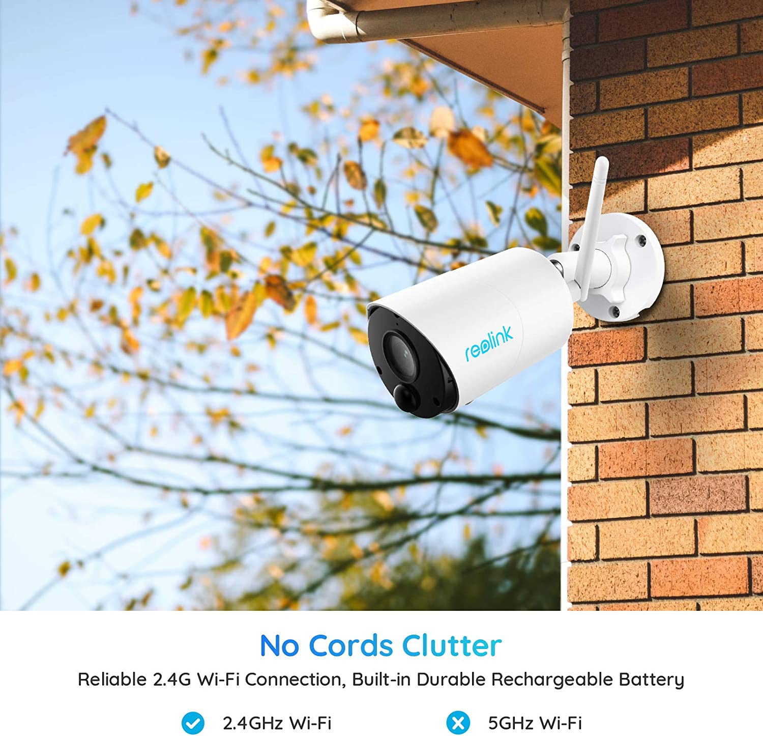 Reolink 1080P HD Wireless Security Camera Outdoor, Rechargeable Battery-Powered Smart WiFi Camera, Night Vision, 2-Way Talk, Works with Alexa, Cloud/Local SD Storage, Argus Eco