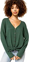 Sky and Sparrow Button Tie Front Hunter Green Thermal Top
