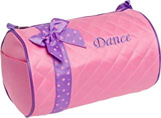 Silver Lilly Girls Dance Bag - Quilted Duffle Bag w/Lavender Bow (Light Pink)