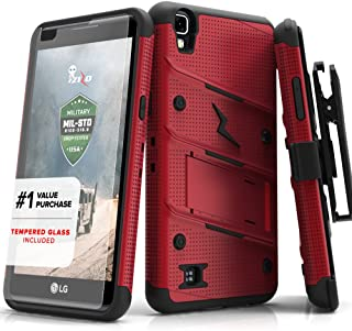 ZIZO Bolt Series LG X Power Case Military Grade Drop Tested with Tempered Glass Screen Protector, Holster, Kickstand RED Black