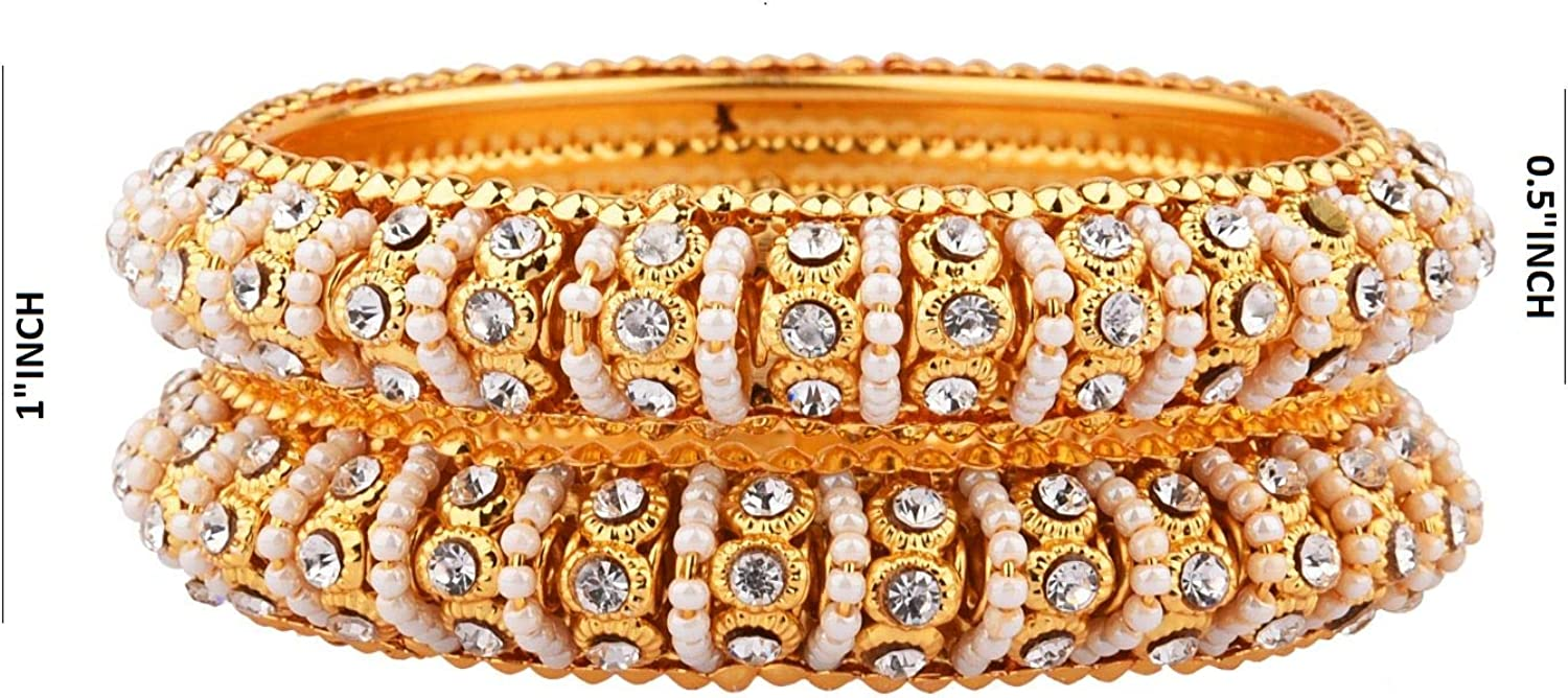 Efulgenz Indian Style Bollywood Traditional Faux Pearls Indian Bangle Bracelet Set Jewelry for Women