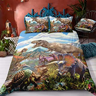 ADASMILE A & S 3D Dinosaur Bedding Set King Jurassic World Theme Dinosaur Duvet Cover for Kids Boys Teens 3 Pieces Kids Be...