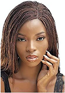JBG SERVICES Authentic African Braided Wig - Micro Twist Wig for African American Women - Lace Closure Finishing for Natural-Look Hairline - 2 Hair Pins Color: 30/33 Medium/Dark Auburn 12 inch