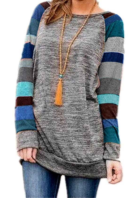 HARHAY Women's Cotton Knitted Long Sleeve Lightweight Tunic Sweatshirt Tops