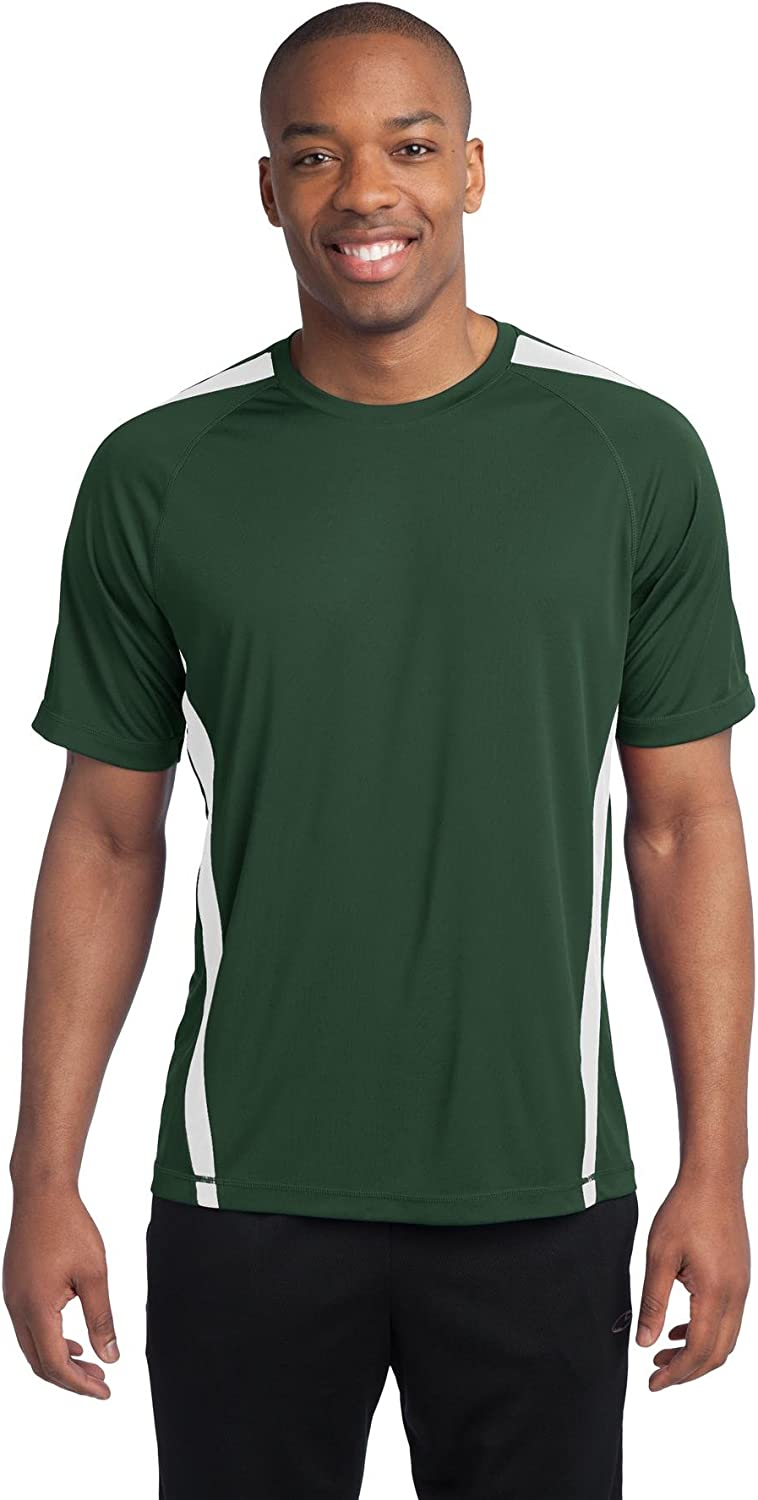 Sport-Tek Men's Tall Colorblock PosiCharge Competitor LT Forest Green/ White