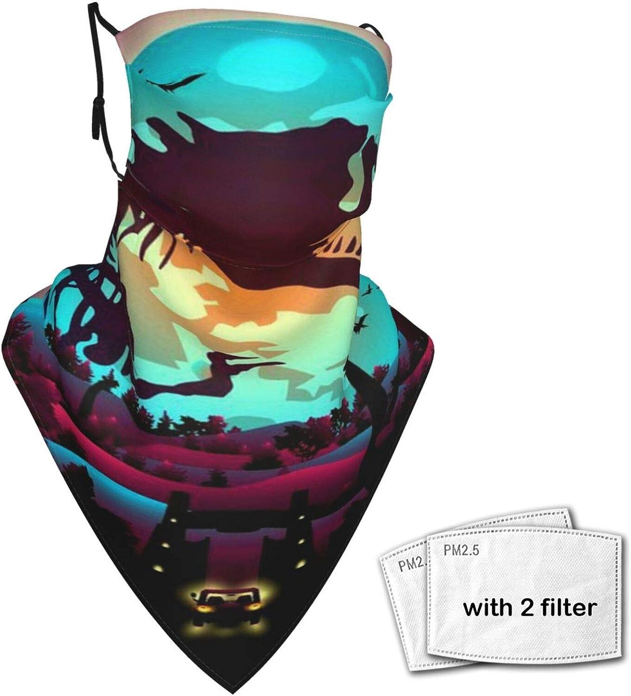 Colorful Dinosaurs World Triangle Scarf Balaclava Unisex Face Mask Bandanas