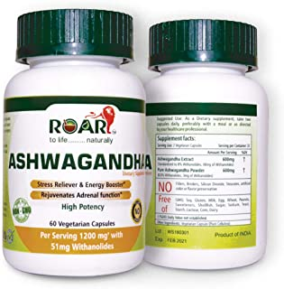 Roar High Potency Pure ASHWAGANDHA with 8% Withanoides for Anxiety & Stress Reliever with Immune & Thyroid Support   600 m...