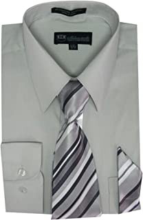 83c1b01f6d8fe2 Milano Moda Men's Long Sleeve Dress Shirt With Matching Tie And  Handkerchief SG21A