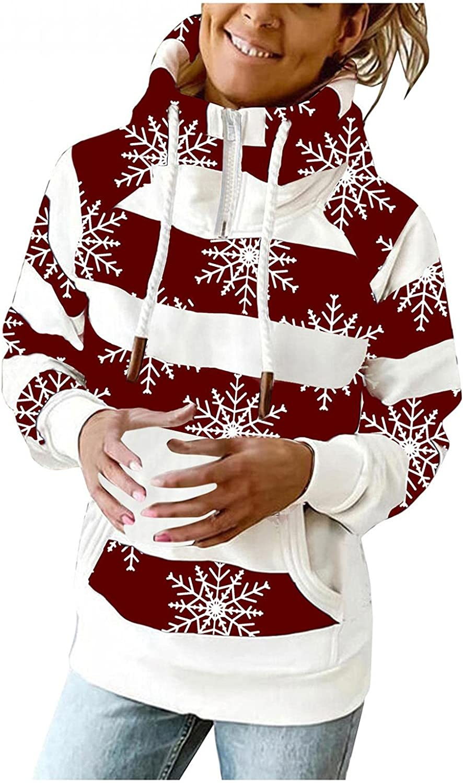 UOCUFY Hoodies for Women Zip Up,Womens Lightweight Sweatshirts 1/4 Zipper Long Sleeve Pullover Striped Printing Hooded
