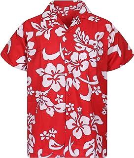 V.H.O. Funky Hawaiian Shirt | Men | XS-12XL | Short-Sleeve | Front-Pocket | Hawaiian-Print | Hibiscus Summer | Multiple Co...