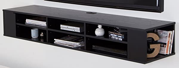 City Life Wall Mounted Media Console 66 Wide Extra Storage Black Oak By South Shore
