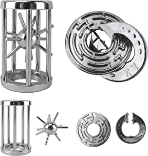 Katosca Two Pieces Classic Unlocking Toy Puzzle Cast Metal Brain Teaser Game (Level 6) Puzzles for Kids and Adults Ages 12...