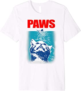 Funny Tee Paws Parody Tees for Cat Kitten Shark & Cat Lovers Premium T-Shirt