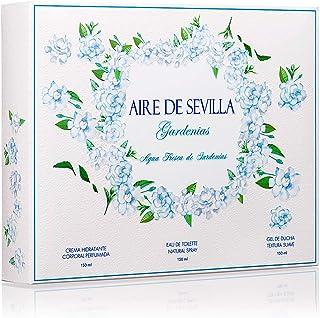 Aire de Sevilla Gardenias Set Perfume para Mujer - EDT Crema Perfumada y Gel Exfoliante