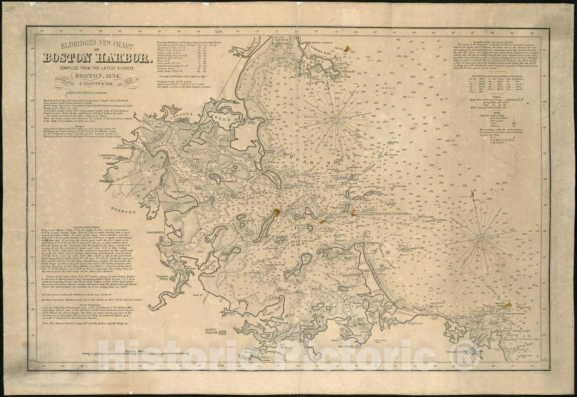 Historical Map 1884 Eldridge's New Quantity limited Chart of com Kansas City Mall : Boston Harbor