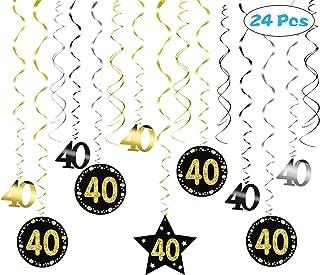 SEELOK 24pcs Remolinos Colgantes Cumpleaños 40 años Adornos de Espirales Banner Happy Birthday Guirnalda de Feliz Cumpleaños Serpentinas Fiesta para Cumpleaño Bodas Aniversario