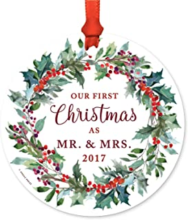 Andaz Press Custom Year Family Metal Christmas Ornament, Our First Christmas as Mr. & Mrs. 2019, Red Holiday Wreath, 1-Pack, Includes Ribbon and Gift Bag