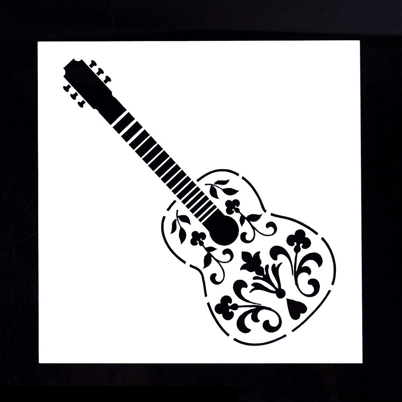 Boutique d'isacrea - Plantilla de plástico (13 x 13 cm), diseño de guitarra (02)