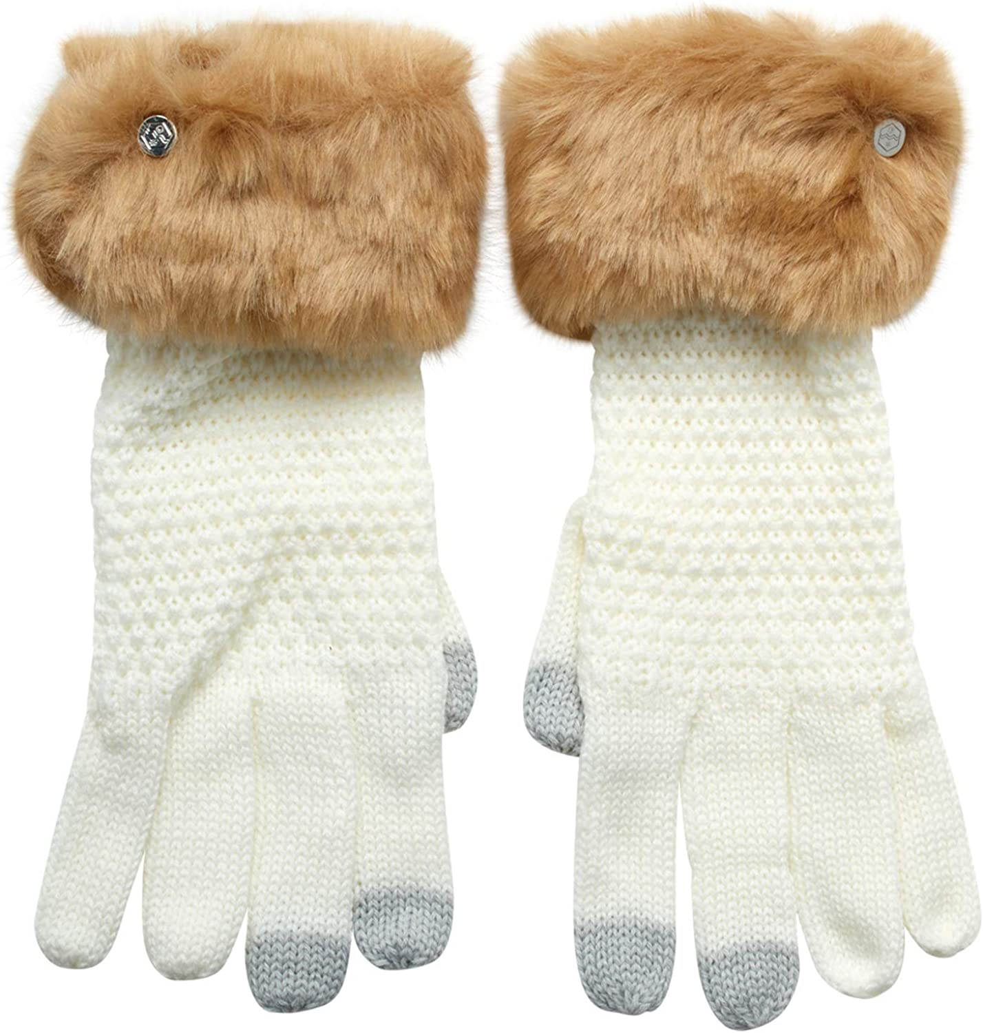 Khombu Womens Cable Knit Warm Glove with Faux Fur Cuff and Touch Fingers