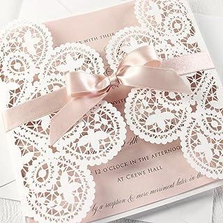 PARTECIPAZIONE matrimonio fai da te KIT anniversario fidanzamento baby shower compleanni DIY bianco e rosa taglio laser CO...