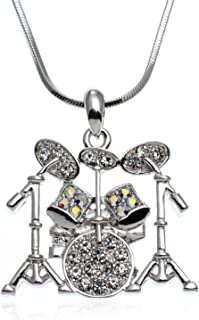 PammyJ Music Jewelry - Drum Set with Clear Crystals Pendant Necklace, 15.5