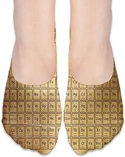 ALPHNJ, Calcetines Tabla periódica antigua de los s Calcetines invisibles personalizados personalizados para mujer Calcetines de corte bajo para niña