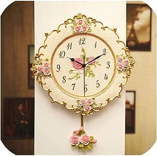 Wenzi-day Wall Clock Swing Mute Flower Design moeden Clocks Times Strong Package,Samll Size