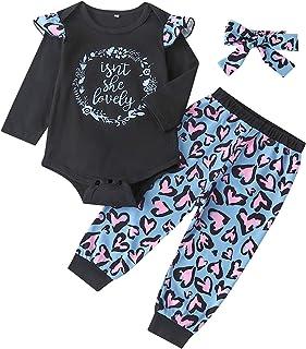 Anmino Nouveau-né Bébé Fille Ensemble de Vêtements à Manches Longues Volants Barboteuse Tops + Pantalon à Fleurs + Bandeau...