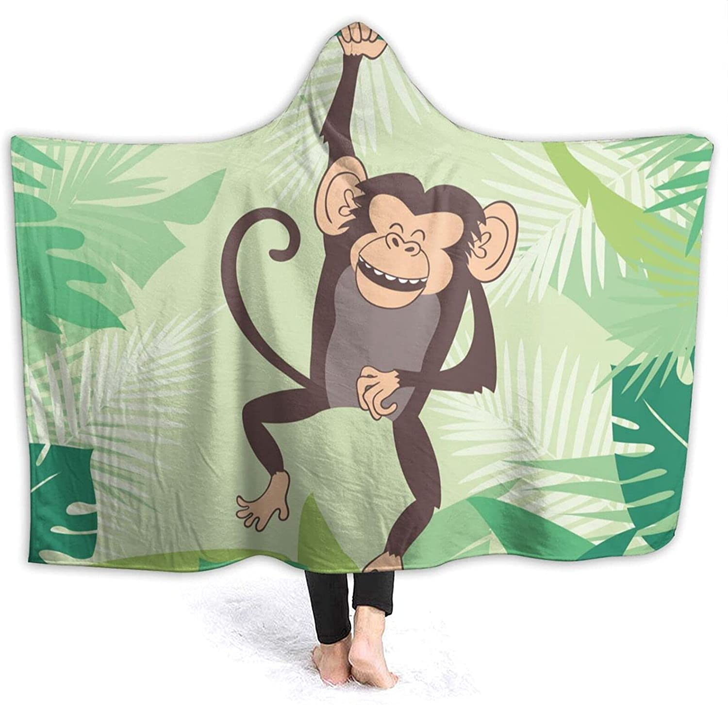 Max 42% OFF Happy Monkey Popular products Hoodie Blanket Wearable-Hooded Blank Flannel Tahalo