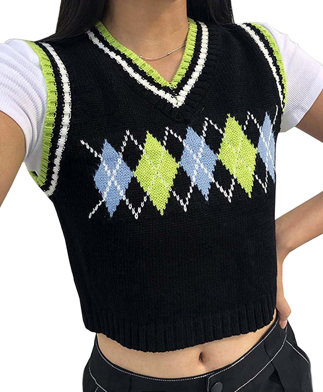 Womens Sweater Vest Argyle Plaid Crop Sweaters Sleeveless Preppy Style Tank Tops