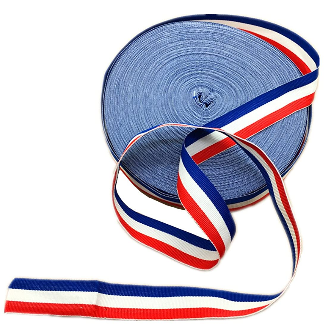 Red White and Blue Grosgrain Stripes Ribbon American Flag Patriotic Ribbon for Independence Day Party Decoration 50 Yards
