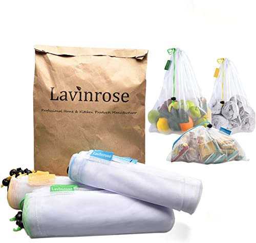Reusable Produce Bags, Lavinrose Reusable Mesh Produce Bags with Drawstring & Tare Weight Tags, Durable Overlock-Stit...