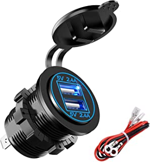 YonHan Dual USB Charger Socket Power Outlet 2.4A & 2.4A (4.8A) with Wire in-line 10A Fuse for 12V/24V Car Boat Marine Motorcycle RV Truck Camper Vehicles and More