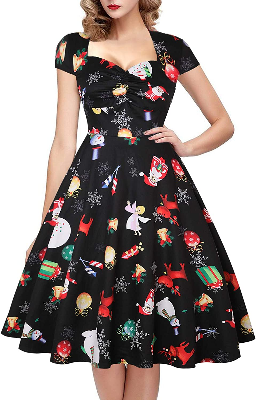 oten Women's Halloween Vintage Swing Dress Retro Polka Dot Rockabilly Sugar Skull Cocktail Party Dress Cap Sleeve