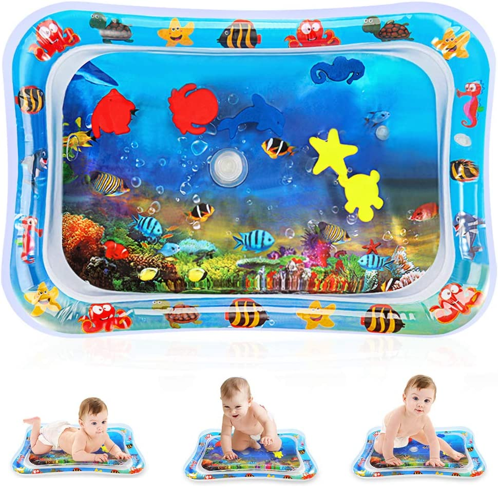 LYILIN Tummy Time Water Baby Play Mat,Inflatable Infant Baby Toys & Toddlers Fun Activity Play Center,Perfect Fun Early Development Activity Center to Your Baby's Stimulation Growth