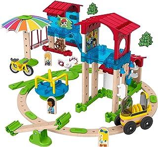 Fisher-Price Wonder Makers Slide & Ride - Juego de construcción de 75 piezas y pista de madera para niños de 3 años en adelante