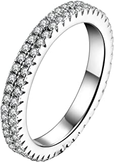 925 Sterling Silver CZ Simulated Diamond Endless Eternity Promise Ring Band Stackable for Women Size 5 6 7 8 9