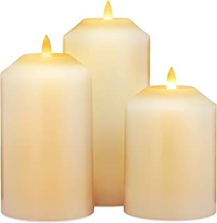 LED Lytes Timer Candles Battery Operated, 3 Ivory Wax Pillar Decorative Candle Set, Realistic Flameless Flickering 3D Flame and Wick with 6 Hour Timers