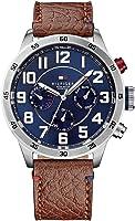 ساعة تومي هيلفيغر للرجال مينا ازرق بسوار جلدي - 1791066