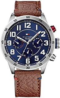 Tommy Hilfiger Trent Men's Quartz Watch with Blue Dial Analogue Display and Brown Leather Strap 1791066