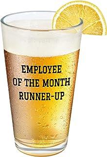 Employee Beer Glass - Employee of the Month Runner Up Beer Pint Glass, 15 Oz Beer Glass for Men Women Boss Employee Cowork...
