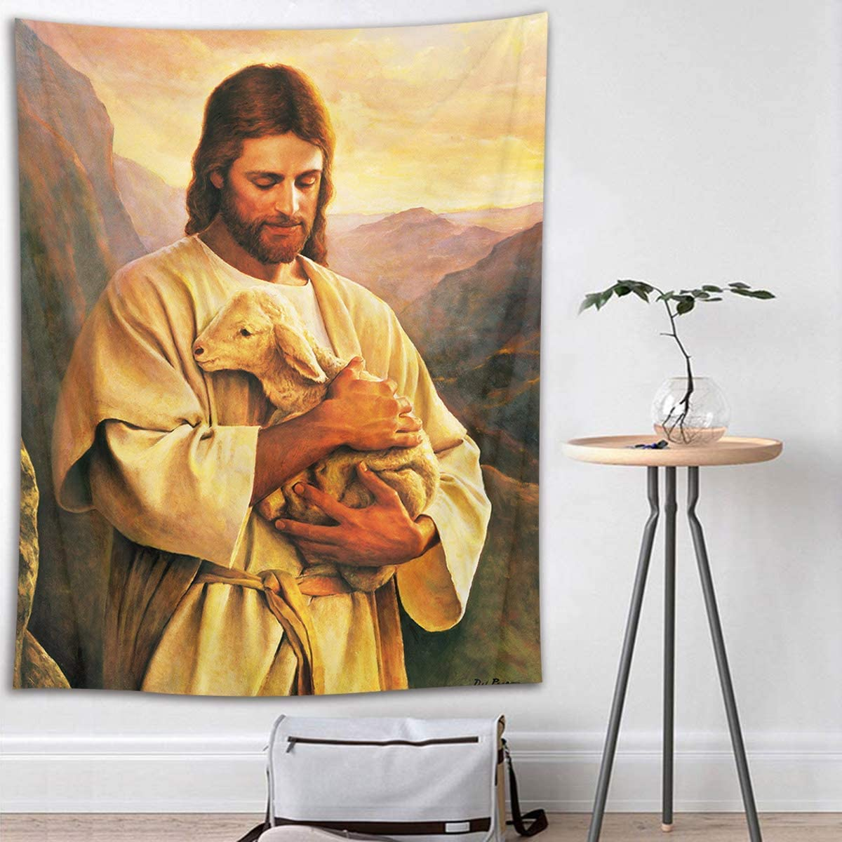 JOOCAR Christian Tapestry Jesus Christ with Lamb in Mountain Wall Hanging Easter Tapestries Hanging Art Decor for Living Room Bedroom